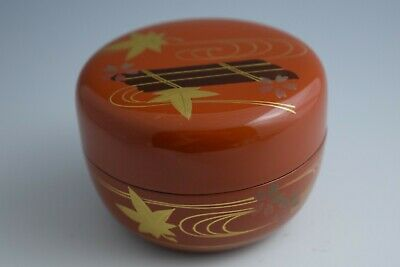 Japanese Lacquer Makie. Cherry & Maple Leaves Design. Hira-Natsume Tea Caddy #99