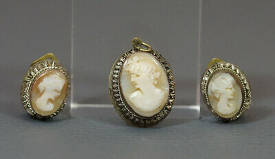 Antique Victorian Oval Carved Shell Cameo set Clip Earrings Neck Pendant Fob