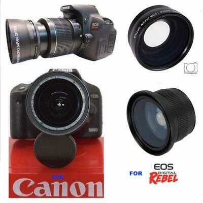 2X Telephoto + X21 Fisheye Lens + Macro Lens For Canon Eos Rebel T6 With 18-55Mm