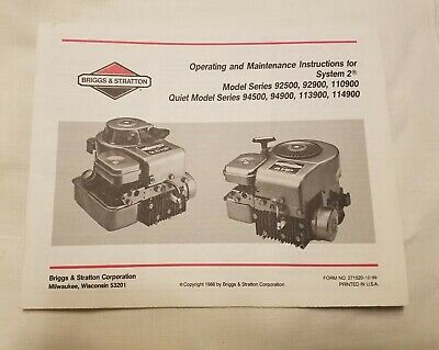 Briggs & Stratton System 2 Operating and Maintenance Manual