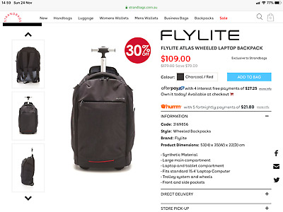 Flylite Atlas wheeled carry on backpack