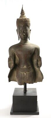 Antique Thai Style Bronze Ayutthaya Abhaya Protection Buddha Statue - 68cm/27""