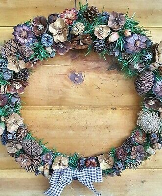Real Pinecone Wreath Handmade Nature Decor Customizeable Mixed Conifer Cones