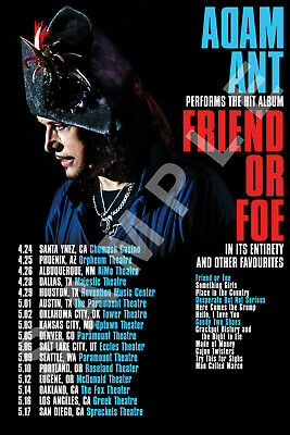 ADAM ANT 12x18 FRIEND OR FOE 2020 TOUR POSTER LIVE BAND CONCERT