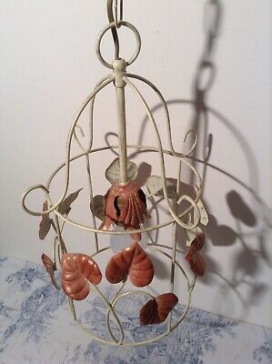 French / Italian Style Tole Birdcage Ceiling Light - Toleware Leaves