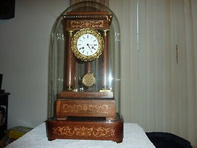 Lovely Old Rosewood Portico Clock With Dome.