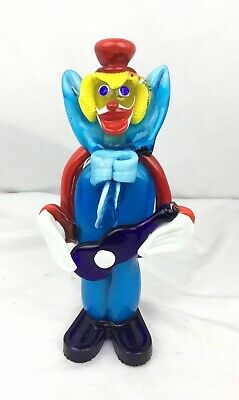 "Vintage Mid Century Murano Itay Art Blown Glass 10"" Italian Clown Figurine"