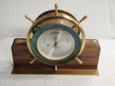 Vintage Seth Thomas Helmsman E537-011 1508 Weather Barometer Wood Base 1602
