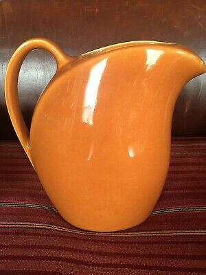 """Vintage tall HALL Water Pitcher """"Bauer Brown"""" 9"""" - ice lip"""