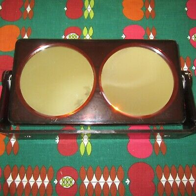 Vintage Magnified Makeup Mirror Swivel Tortoise Shell Plastic 1970s Mod Retro
