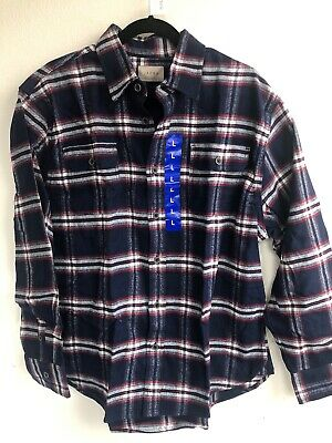 1306) Jachs Men's Brawny Flannel Shirt Plaid Long Sleeve Cotton Blue Red Large