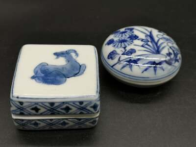 "Set 2 Japanese Ceramic Incense Blue&white Container. ""Kogo"" Tea Ceremony signed"