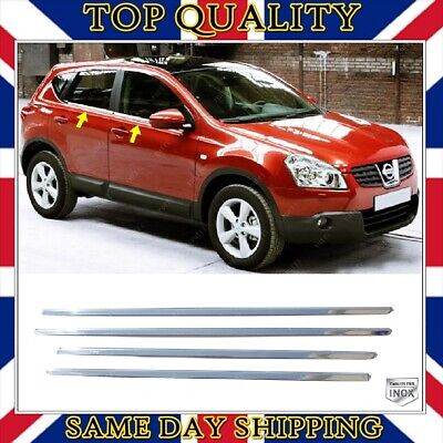 To Fits Nissan Qashqai J10 Chrome Windows Frame Trim 4 pcs S.STEEL 2006-2013