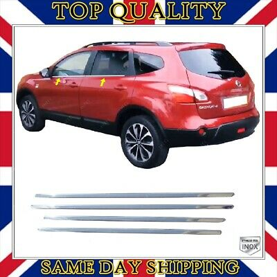 To Fits Nissan Qashqai +2 Chrome Windows Frame Trim 4 pcs S.STEEL 2006-2013