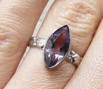 925 Silver over Brass - Marquise Cut Amethyst Solitaire Ring Sz 6 - RG1776