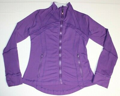 Womens Lululemon Define Thumb Holes Full Zip Jacket Sz 8 Purple Turtle Neck