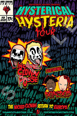 INSANE CLOWN POSSE 12x18 HYSTERICAL HYSTERIA TOUR POSTER EUROPE 2020 DOPE D.O.D.
