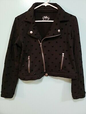 JUSTICE Girls Black Light Weight Motorcycle polka dots with glitter Jacket Sz 16