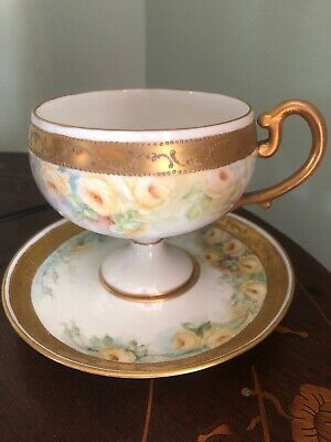 Willets Belleek Antique Footed Cup & Saucer Set Yellow Roses Gold Gilt  EXC