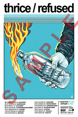 THRICE & REFUSED 12x18 BAND TOUR POSTER CONCERT LIVE 1