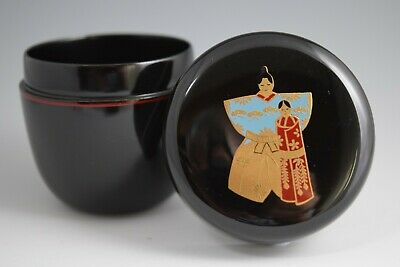 Cute!! Standing HINA dolls. Japanese Lacquerware MAKIE. Tea Caddy NATSUME. (#67)