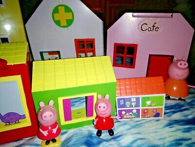 Peppa pig town playset, house, cafe, toy shop, hospital, figures, fold away