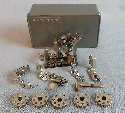 Singer Sewing Machine 221 Featherweight Attachments & Bobbins Cute Little Box