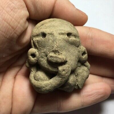 Medusa Head Terra Cotta Pre-Columbian Pottery Head Fragment Artifact Mayan Incan