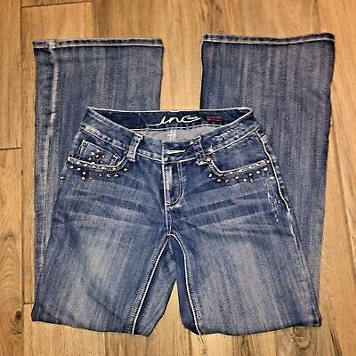 INC Denim Womens Jeans Sz 0 28 x 31 Curvy Fit  Boot Leg Embellished Distressed