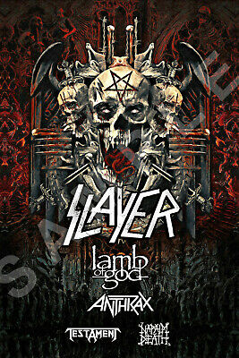 SLAYER 12x18 THE FINAL TOUR POSTER 2019 LAMB OF GOD ANTHRAX TESTAMENT NAPALM 2