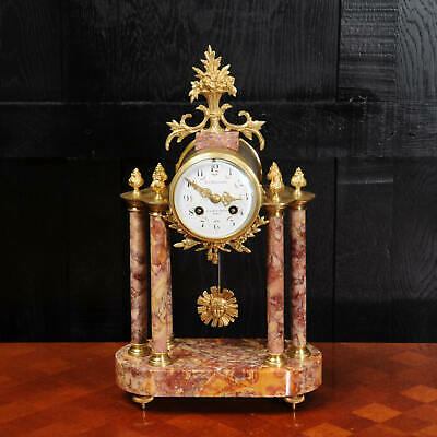 Antique French Ormolu and Specimen Marble Portico Clock