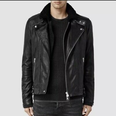 Allsaints Black Leather Jacket With Shearling Collar Men's Size Small