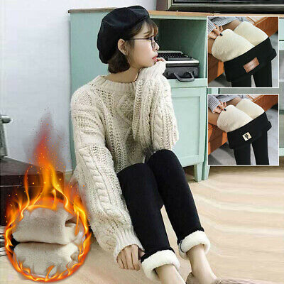 Women Ladies Winter Thermal Warm Leggings Thick Fleece Lined Slim Trousers Pants