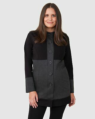 Pea in a Pod Lia Hooded Coat in Black / Charcoal Maternity Pregnancy Clothing