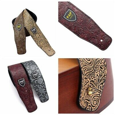 Classic Luxury Soft PU Leather Guitar Acoustic Electric Basses Guitar Strap NEW