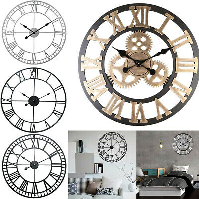40Cm 60Cm Roman Numerals Skeleton Wall Clock Open Face Round Garden Home Decor