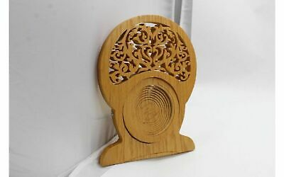 "Hand Carved 10"" Wood Wooden Footed Trivet Kitchen Stand Coaster signed by Artist"