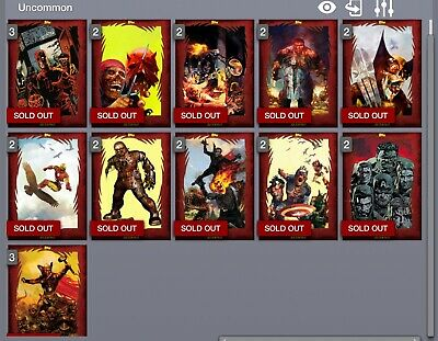 TOPPS MARVEL COLLECT CARD TRADER MARVEL ZOMBIES w/AWARD [SET 11 RED CARDS]