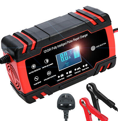 Car Battery Charger, 12V/24V 8Amp Battery Charger & Maintainer with Charge
