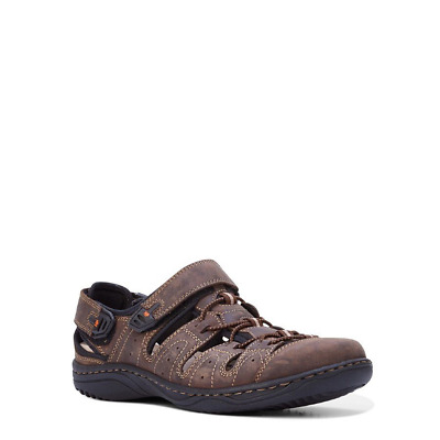 Hush Puppies Anderson Brown Leather Comfort Sandal Walking Casual Shoes Mens