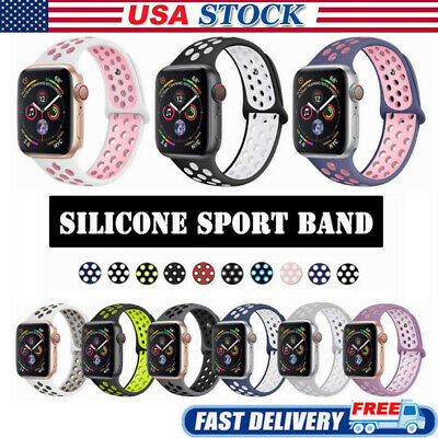 42/44mm 38/40mm Silicone Sports iWatch Band Strap for Apple Watch Series 5 4 3 2