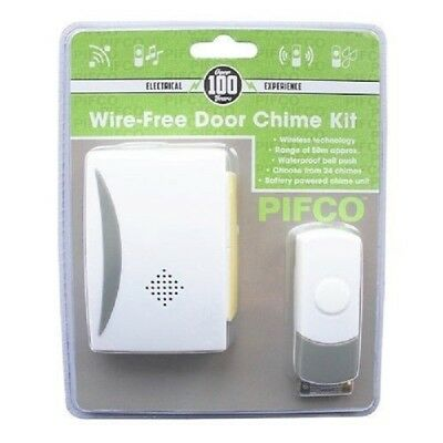 NEW PIFCO  Cordless Wireless Door Bell Kit Chime 50m Range Home Battery Operated