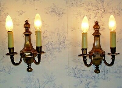 Pair Vintage French Empire Style Bronze Effect Metal Double Candle Wall Lights