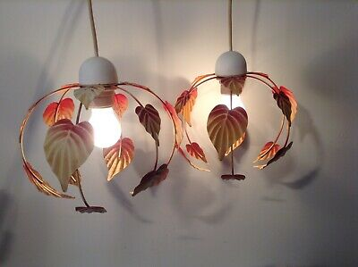 Pair French/Italian Style Tole Ceiling Lights - Toleware Light Shades