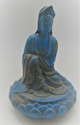 Unresearched Ancient Near Eastern Seated Blue Stone Buddha Statue Very Nice