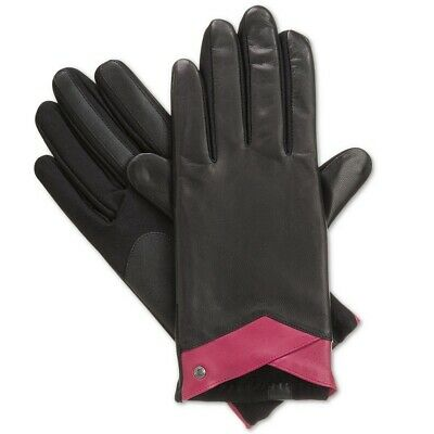ISOTONER Black Wildberry Leather Stretch smarTouch Lined Womens Gloves XL
