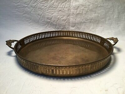 Vintage Solid Brass Round Serving Tray Handled Pierced Sides Handmade in India