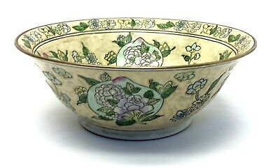Signed Chinese Characters Porcelain Green Floral Bowl Decorative