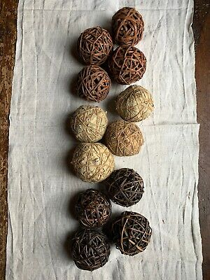 Primitive Country Lot of 4 Rattan Twig Vine Balls w// Glitter Dusted 4 in NIP