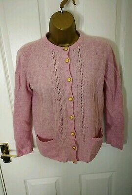 MS Womens Ladies Sweater Knitted Pink Size 10 Woolmark Top Long Sleeve Tshirt D